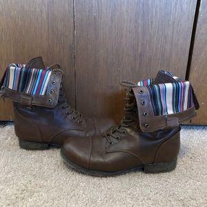Brown combat boots